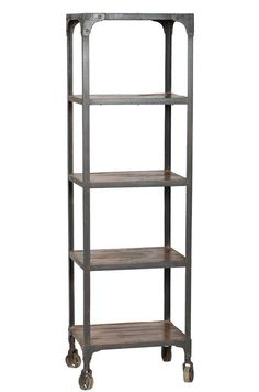 Iron And Wooden Movable Bookshelf With Wheels Wood, Reclaimed Wood, Wood Bookshelves, Vintage Industrial Furniture, Furniture, Shelves, Teak Wood, Home Decor, Industrial Shelving