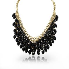 Passiana  Crystal Waterfal Bib Necklace ($45) ❤ liked on Polyvore featuring jewelry, necklaces, acessorios, black jewelry, kohl jewelry, black necklace, long black necklace and waterfall necklace
