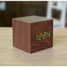 Gingko | Walnut Cube Click Clock Green LED | Hurn & Hurn