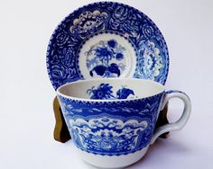 Spode Blue Room Collection Floral Blue Tea Cup Saucer