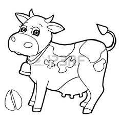 Cattle with paw print Coloring Pages vector Stock Vector