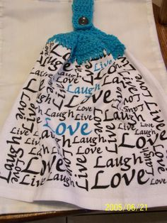 Turquoise Live Laugh Love Crochet Top Kitchen by kayandgirlscrafts, $2.85