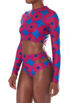 XARÁ by ofuure on Etsy. african print high waist swimsuit   With long sleeved top and high waist bottom with cut out detail.     80% polyester 20% spandex.    High waist bikini bottom.         Fully lined (affiliate)