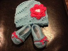 Crochet Baby Hat and Bootie Set Size 36 by MelissaCarynDesigns, $25.00