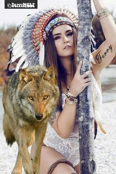 Really Hot . Wolf Time, Wolves And Women, Red Indian, Skull Island, Wolf Pictures, Spirited Art, Beautiful Wolves, Native American Women, Beauty Women
