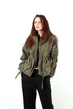 80s Khaki Cotton Women Jacket / Olive Green Jacket / Batwing Jacket / Military Jacket / Spring Jacket / Cargo Jacket  / Size M / L