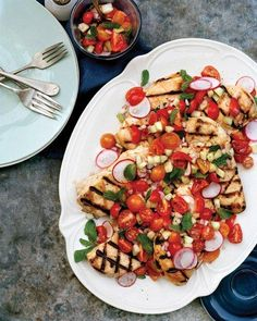 Grilled Chicken with Cucumber, Radish, and Cherry Tomato Relish Recipe