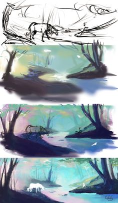 digital art About the process Concept Art Tutorial, Digital Art Tutorial, Digital Painting Tutorials, Art Tutorials, Background Drawing, Animation Background, Digital Drawing, Art Sketches, Art Drawings