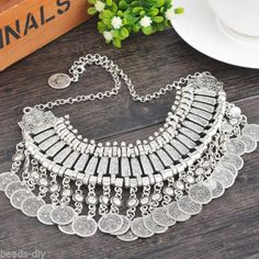 1PC Silver Tone Flower Pattern Circular Tassel Neck Exaggerated Necklaces