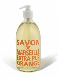 pretty, all natural hand soaps, come in glass or plastic bottle.. lovely for bathrooms! Compagnie de Provence Liquid Marseille Hand Soap