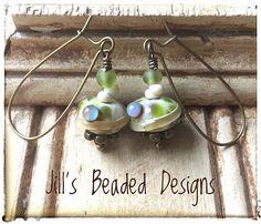 Green earrings Caramel earrings Boho earrings Brass