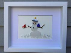 Snowman Cardinal Unique Gift Sea Glass Art by MainlyMaineSeaglass