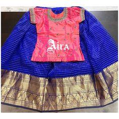 Half Saree Designs, Saree Blouse Designs, Kids Dress Wear, Kids Wear, Indian Gowns Dresses, Baby Girl Dresses, Kids Gown Design, Crop Tops For Kids, Kids Blouse Designs