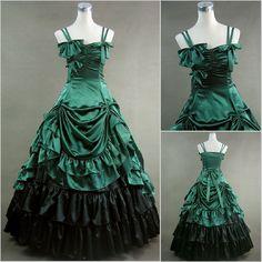 Freeship de raso verde del renacimiento de estilo gótico victoriano/maría antonieta/guerra civil/southern belle vestido de bol...