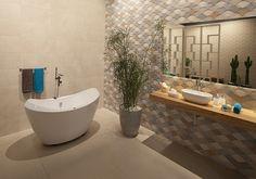 Banheiro - #ceramicaportinari. Bathrooms - Baños, banho, banheiro. Produto Cerâmica Portinari, Color Dec Mix 30x90cm.
