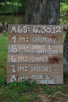 Reception Schedule Itinerary Menu Board. Personalized Wedding