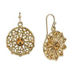 Gold-Tone Light Topaz Crystal Flower Filigree Drop Earrings - Fashion