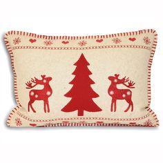 Cushions : Rectangular Christmas Wonderland Red Reindeer and Christmas Tree on Cream Background