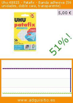 Uhu 48815 - Patafix - Banda adhesiva (56 unidades, doble cara, transparente) (Productos de oficina). Baja 51%! Precio actual 5,00 €, el precio anterior fue de 10,20 €. https://www.adquisitio.es/uhu/48815-patafix-banda