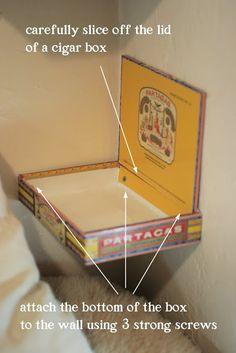 Cigar box corner shelf... genious