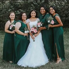 Bring the bridal party of your dreams to life with fresh colors of silhouettes to flatter your girls! Mix and match your maids with different necklines anchored in the same skirt and color for the perfect party look! 📷: Photo uploaded by B . Style F17063, F19505, F19908, F19328 in Juniper, WG3869