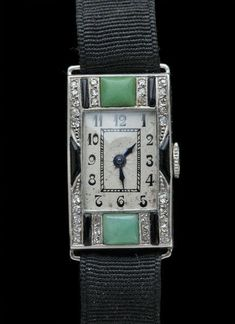 ART DECO Watch Platinum Jade Onyx Diamond H: cm in) W: cm in) Marks: Dogs head. Numbered Inscribed French, Fitted Case Movement working well, the dial with slight wear commensurate with age Ref: 7695 Or Antique, Antique Jewelry, Vintage Jewelry, Antique Clocks, Vintage Art, Bijoux Art Deco, Art Deco Jewelry, Art Nouveau, Antique Watches