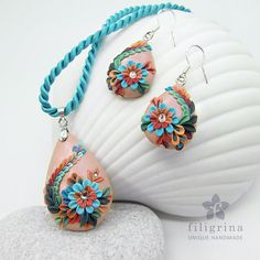 Polymer clay filigree applique technique, handmade jewelry, pendant and earrings, teal blue and coral and nude pink, vintage, wedding jewelry, flowers, floral jewelry, teardrop shape, pear shape, paisley,  CORALLINA  unique SET of pendant & earrings by Filigrina, €49.99