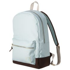 MOSSIMO SUPPLY CO. Blue Backpack- much cuter in person. Robin's egg blue, brass hardware, faux leather details, partial canvas straps. I got it for my summer travels.