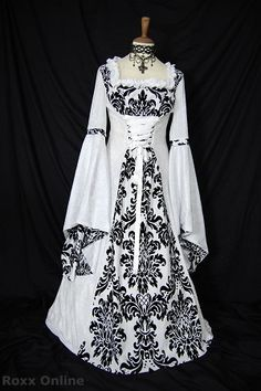 White & black medieval renaissance wedding dress at www.roxx-online.com