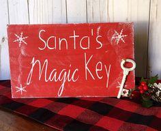Items similar to Christmas Decor - Christmas Wood Sign - Santa Magic Key Sign - Christmas Decoration - Christmas Decoration - Santa's Magic Key Sign on Etsy Christmas Pallet Signs, Wooden Christmas Decorations, Christmas Wood Crafts, Farmhouse Christmas Decor, Holiday Crafts, Christmas Ornaments, Wood Pallet Crafts, 2x4 Crafts, Wood Block Crafts