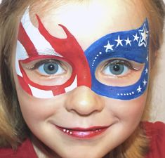 Face Painting For Boys, Face Painting Designs, Paint Designs, Body Painting, 4th Of July Party, Fourth Of July, Diy Halloween Face Paint, 4th Of July Makeup, Kids Makeup