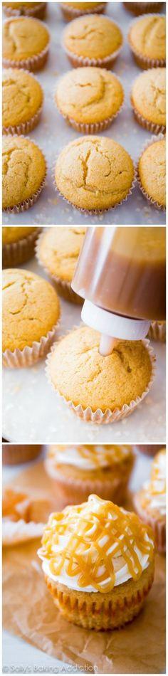 Butterscotch Filled Brown Sugar Cupcakes by sallysbakingaddiction.com