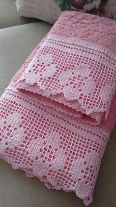 Hand crocheted border fillet crochet lace trim linear or Filet Crochet, Crochet Blanket Edging, Crochet Edging Patterns, Crochet Lace Edging, Crochet Diy, Love Crochet, Crochet Doilies, Crochet Stitches, Doilies Crafts