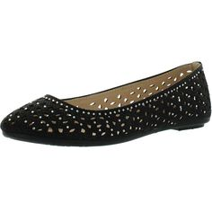 Bamboo Womens Quintus-80A Perforated Cut Out Sparkle Rhinestone Ballet... ($30) ❤ liked on Polyvore featuring shoes, flats, black, black skimmer, black flat shoes, black ballet shoes, sparkly flats and wide ballet flats