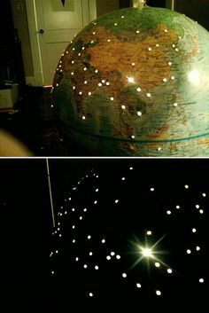 open globe, put in fairy lights etc. drill a hole for the wire, everyplace you visit, put a hole in the globe in that place