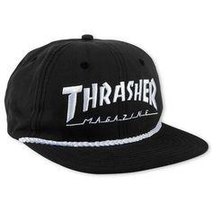 f6ca7ccc Thrasher Rope Snapback Black / White Magazine Clothing, Magazine Shop,  Thrasher Outfit, Mesh