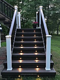 """This Michigan couple made the switch from a wood deck to a composite deck and they give all the details in the article """"Our New Trex Composite Deck"""" including some great tips on things they wish they knew. House Deck, House With Porch, Trek Deck, Veranda Design, Deck Steps, Michigan, Design Jardin, Backyard Patio Designs, Deck Landscaping"""