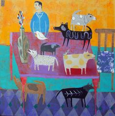 Six dogs and a Goat - Nathaniel Mather. So easy to draw! Straight and curved lines, dots and lots of color. Your picture doesn't have to look like this one.