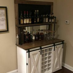 Interior Decorating Plans for your Home Bar Coffee Bar Home, Home Coffee Stations, Diy Home Bar, Bars For Home, Full Frame, Rustic Buffet, Mini Chalkboards, Iron Shelf, Bar Drinks