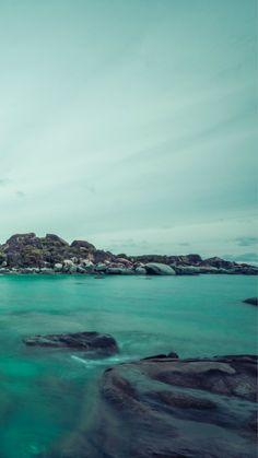 Cyan Island Rock Sea Landscape iPhone 8 Wallpapers