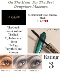 Chapter 1 🤔 Best Drugstore Mascara, Loreal, Being Ugly, Lashes, Good Things, Tips, Eyelashes, Eye Brows, Counseling