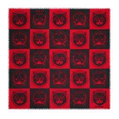 d93ff007ba7 Shop the Mystic Cat print modal silk shawl by Gucci. A silk shawl with the  Mystic Cat print—a Cruise 2018 motif influenced by vintage postcards.