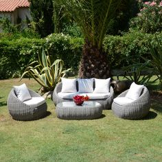 Salon de jardin Maldives Blanc/Taupe - 5 places | Taupe, Places ...
