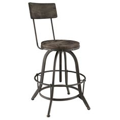 DETAILS Perfect pulled up to your kitchen island or poolside bar, this industrial modern bar stool features a metal frame and pine wood seat and back. Produc