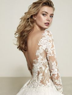 Browse the latest collections from Pronovias wedding dresses & gowns. Pronovias Wedding Dress, Princess Wedding Dresses, Wedding Dress Sleeves, Bridal Dresses, Lace Dress, Wedding Bride, Wedding Gowns, Illusion Neckline Wedding Dress, Beautiful Gowns