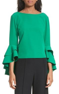 Milly Women's Annie Cascade Sleeve Stretch Cady Top Eileen Fisher, Best Brand, Annie, Ruffles, Stretches, Bell Sleeve Top, Ruffle Blouse, Chic, Tees