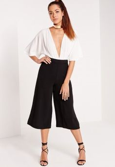 High Waisted Crepe Culottes Black