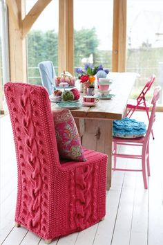 cute chair made from old throw