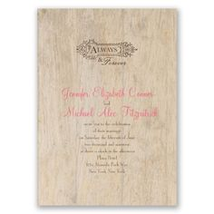Rustic Choose Your Design Wedding Invitations with Free Response Postcards at Ann's Bridal Bargains