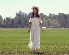 Bohemian Wedding Dresses, Lace, Ivory, White Off The Shoulder, 70s, Hippie Wedding Gown, Vintage-Eden